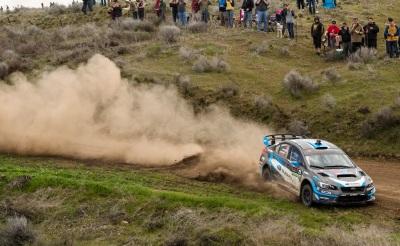 A subaru competes in the recent Oregon Trail Rally  (Subaru of America Photo)
