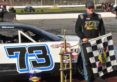 Joey Doiron in victory lane at Oxford.  (PASS Photo)