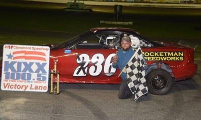 Kodi Sabins in victory lane at Claremont Speedway (NH).  (Claremont Speedway Photo)