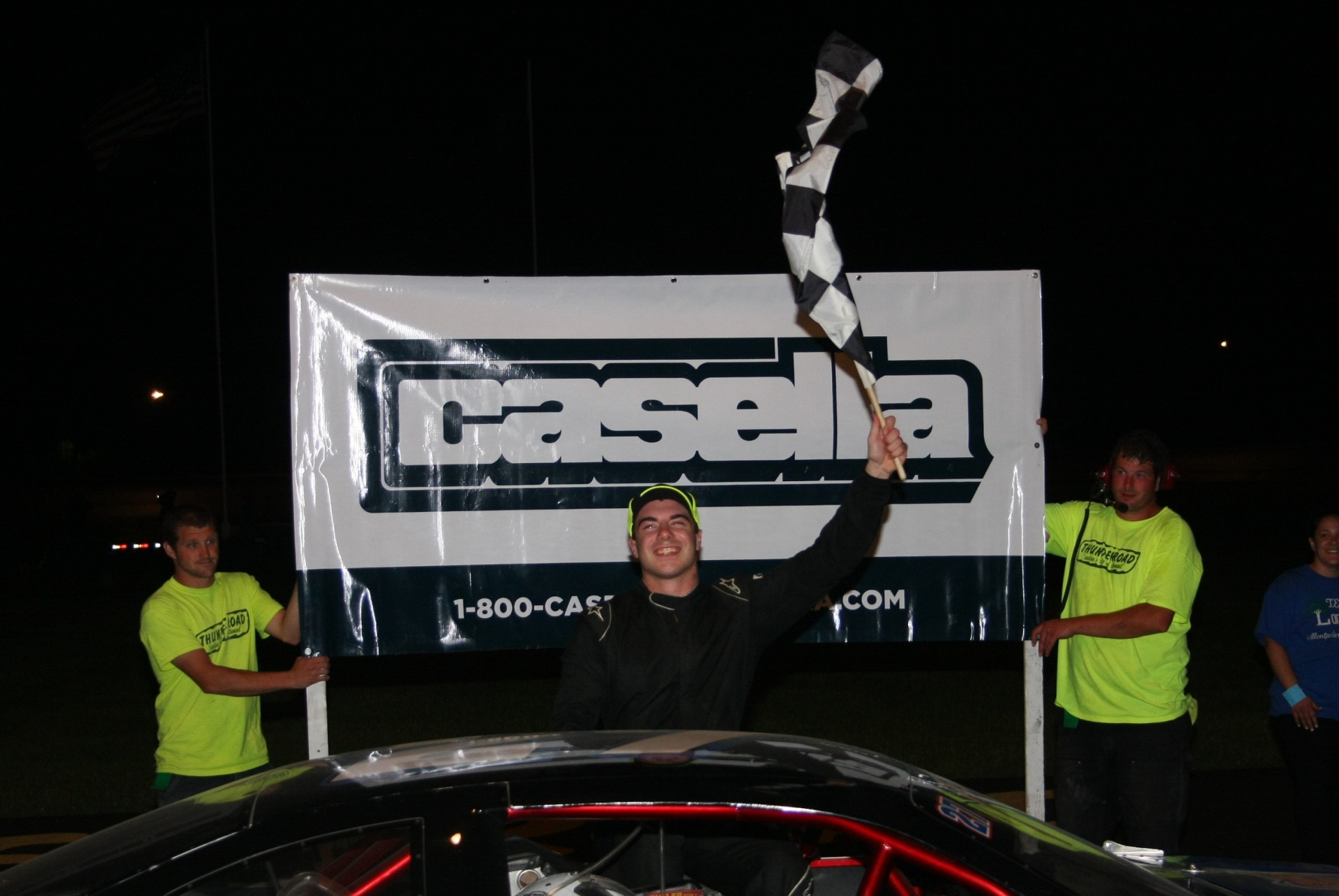 Kyle Pembroke celebrates after winning the Late Model Casella event.  (Alan Ward Photo)