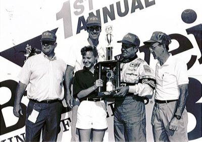 Tommy Ellis in victory lane at New Hampshire - 27 years ago.  (NHMS Photo)