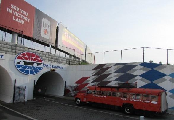 The Raymond Racing bus with the #62 Mini Stock inside.  (Mike Twist Photo)