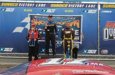 Eddie MacDonald in victory lane after last year's New England Short Track Showdown.