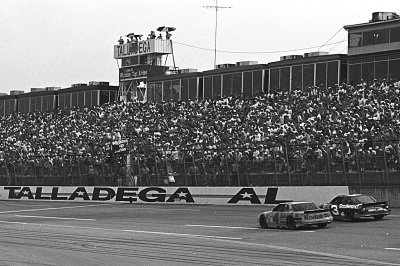 Ernie Irvan (#4) and the late Dale Earnhardt (#3) battle to the checkers at Talladega (NASCAR Photo)