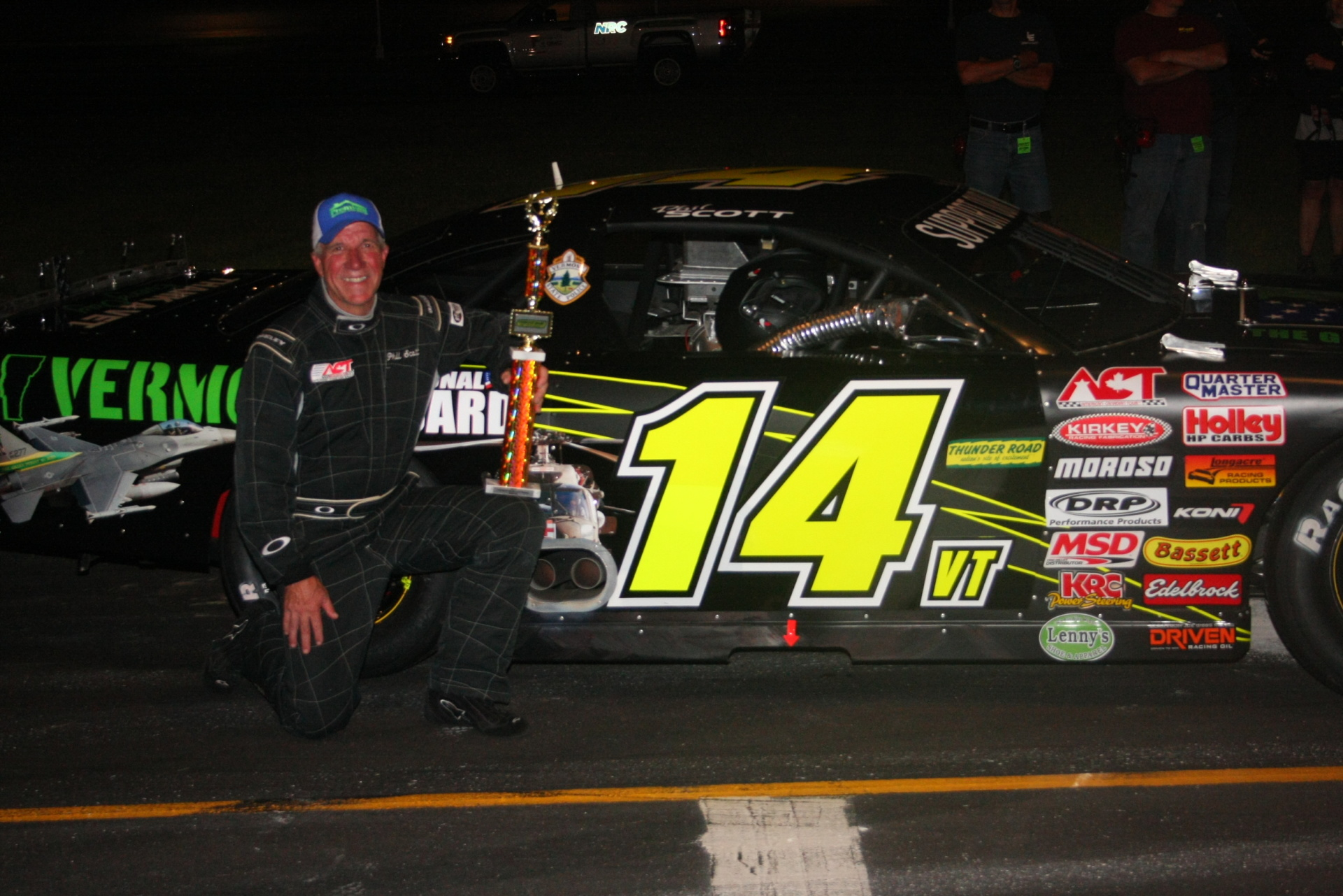Phil Scott celebrates his latest of 30 career victories at Thunder Road.  (Alan Ward Photo)