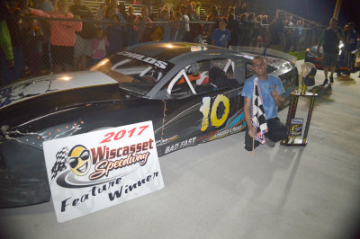 Jimmy Childs in victory lane at Wiscasset.  (Wiscasset Speedway Photo)