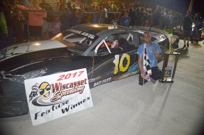 Jimmy Childs in victory lane at Wiscasset.  (Wiscasset Speedway Photo)