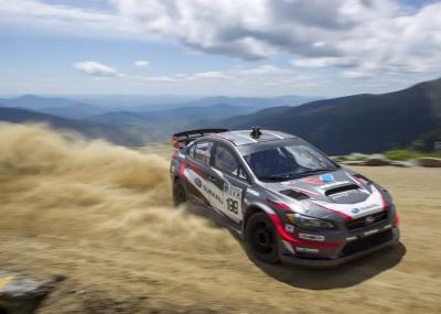 Travis Pastrana and his Subaru charge up Mt. Washington.  (Subaru Photo)