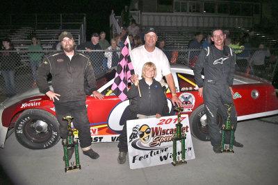 Darren Ripley (Center) in victory lane.  (Wiscasset Speedway Photo)