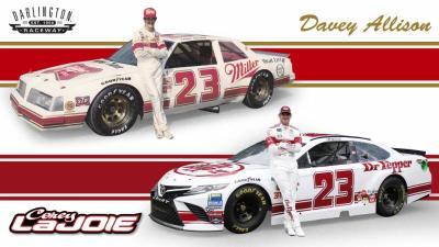 Davey Allison's original paint scheme and Corey LaJoie's tribute to it.  (BK Racing Photo)