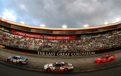 Joey Logano's #22 Mustang in the lead pack at Bristol.  (NASCAR Photo)