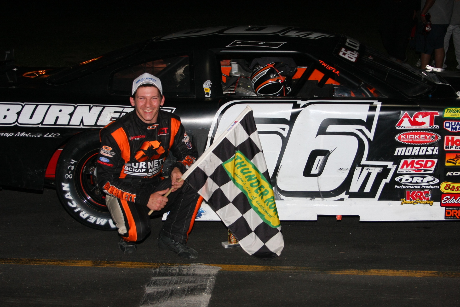 Jason Corliss in victory lane at Thunder Road for the third time this year.  (Alan Ward Photo)