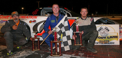 Tyler King (Center) in victory lane at Oxford.  (OPS Photo)