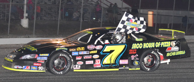 Curtis Gerry takes his Oxford 250 victory lap.  (Oxford Plains Speedway Photo)