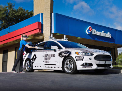 The self driving, pizza-delivering Fusion.  (Ford Photo)