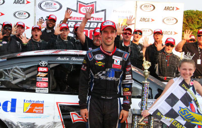 Austin Theriault in victory lane at DuQuoin.  (ARCA Photo)