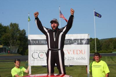 Bobby Therrian celebrates at Thunder Road.  (Alan Ward Photo)