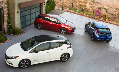 A trio of Nissan Leafs.  (Nissan Photo)