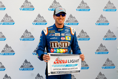 Kyle Busch and his Coors Light Pole Award.  (NASCAR Photo)