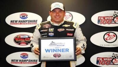 Ryan Newman and his WMT Pole Award.  (NASCAR Photo)