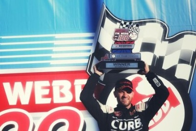 Bobby Santos, III in victory lane.  (NHMS Photo)