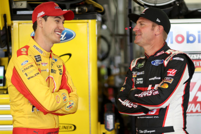Joey Logano (Left) and Clint Boyer (Right).  (NASCAR Photo)