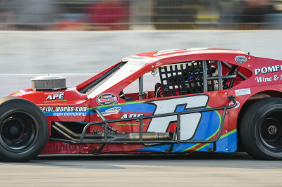 Woody Pitkat in the #6 Sunoco Modified at TSMP.  (TSMP Photo)