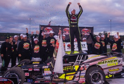 Doug Coby celebrates his fifth NASCAR WMT championship.  (TSMP/Clarus Studios Photo)