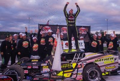 Doug Coby celebrates his fifth NASCAR WMT championship.  (TSMP/Clarus Studios Photo)