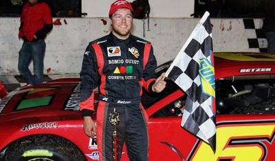 Brandon Setzer in victory lane.  (PASS Photo)