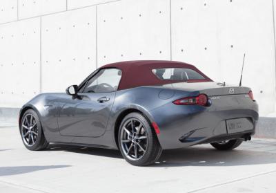 The Dark Cherry top on the Mazda MX-5.  (Mazda Photo)