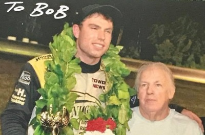 Jon McKennedy shared victory lane with Bob Webber, Sr. (Right) on this night of racing (Star Photo)
