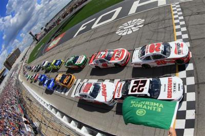 Joey Logano (#22) starts on the outside at Atlanta  (NASCAR Photo)