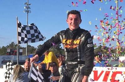 Derek Griffith in victory lane at Dillon.  (PASS Photo)