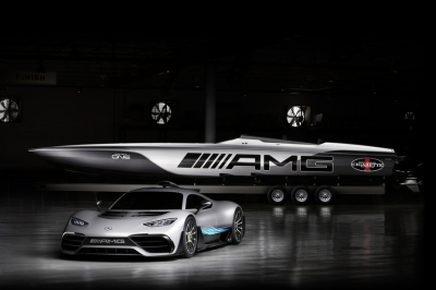 The Mercedes-AMG One and the AMG Cigarette boat.  (MB USA Photo)