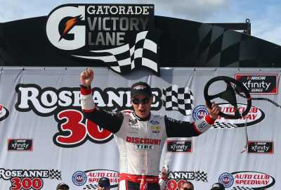Joey Logano in victory lane.  (NASCAR Photo)