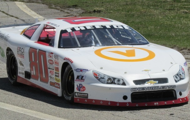 Donald Theetge (#80) is one of Quebec's most visible Late Model competitors.  (Mike Twist Photo)