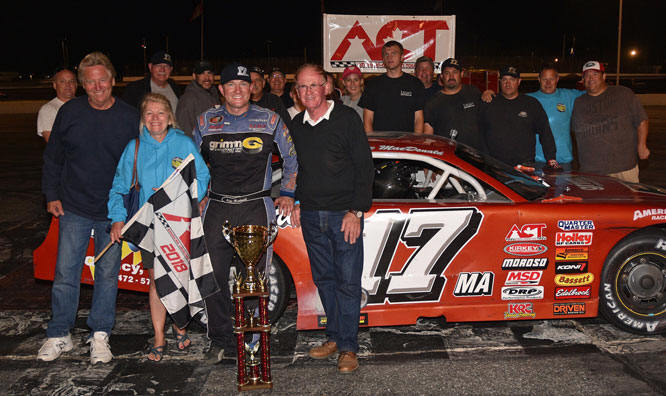 Eddie MacDonald in victory lane at Oxford Plains Speedway.  (OPS Photo)