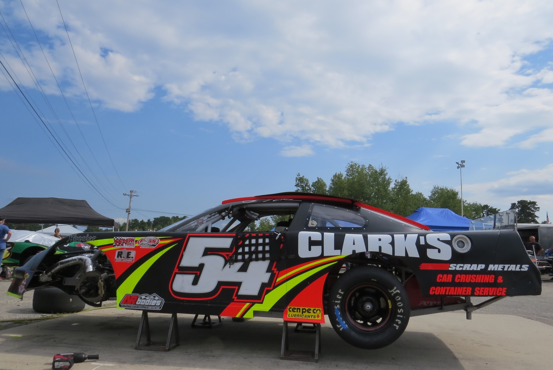 Johnny Clark's #54 in the pit area at Oxford.  (Mike Twist Photo)