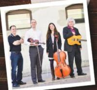 The original Jigs Start Here band in 2013. Harvey Beaton - piano, Brad Red - fiddle, Catherine Little - cello, Dave MacIsaac - guitar.