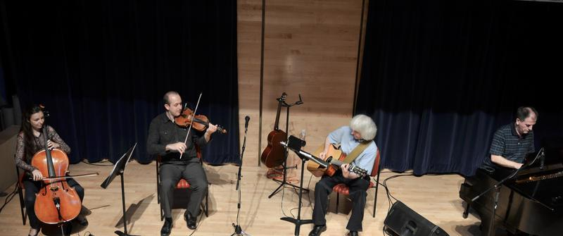 Music Room, Halifax, NS. Catherine Little - cello, Brad Reid - fiddle, Dave MacIsaac - guitar, Harvey Beaton - piano.