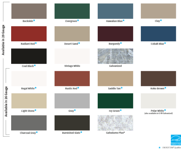 AMC Metal Roof and Siding Colors