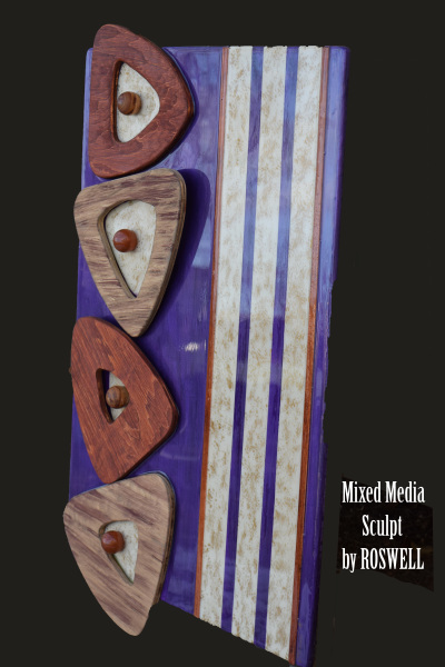 Wood Sculpture / Purple / Goldleaf on Panel
