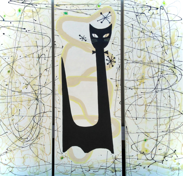 """Mid Century Cat #1,  Triphyche  Mixed Media on Canvas ,  approx 12""""x 36 """" each ,$800"""