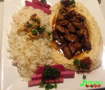 Hummus with Beef and Rice