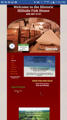 The Hillside Fish House Specials Page
