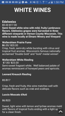 The Hillside Fish House Mobile Wine List, check it out on your smartphone.