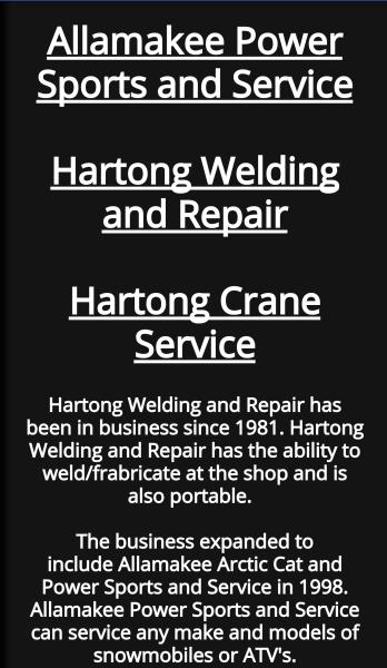 Allamakee Power Sports, Hartong Welding and Repair, and Hartong Crane Mobile Main Pate