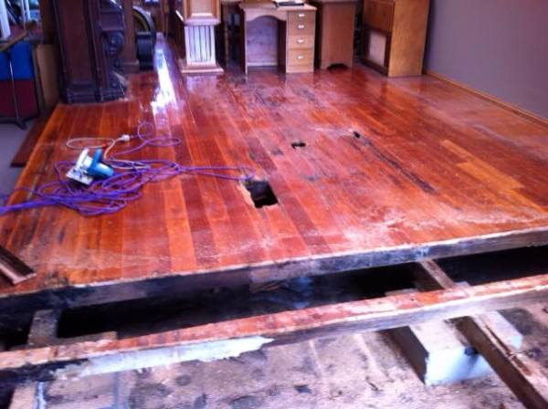 Hooray - the new floor is going in this morning!