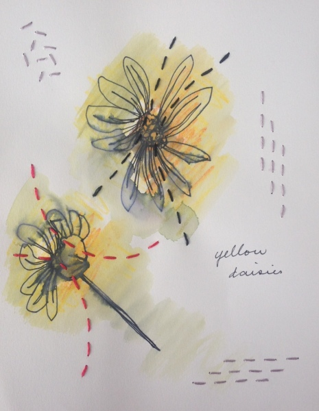 Stitched original drawing by Rita Summers - daisies